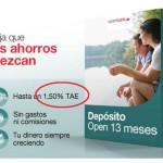 El Depósito Open a 13 meses baja del 1,75% al 1,50% TAE