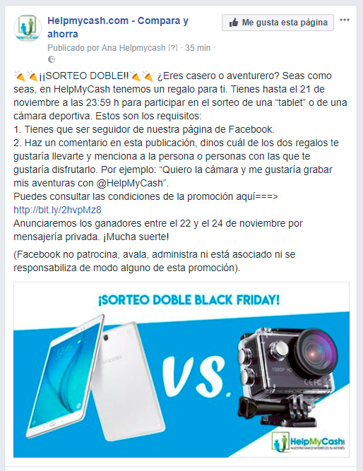 Promoción facebook HelpMyCash Black Friday