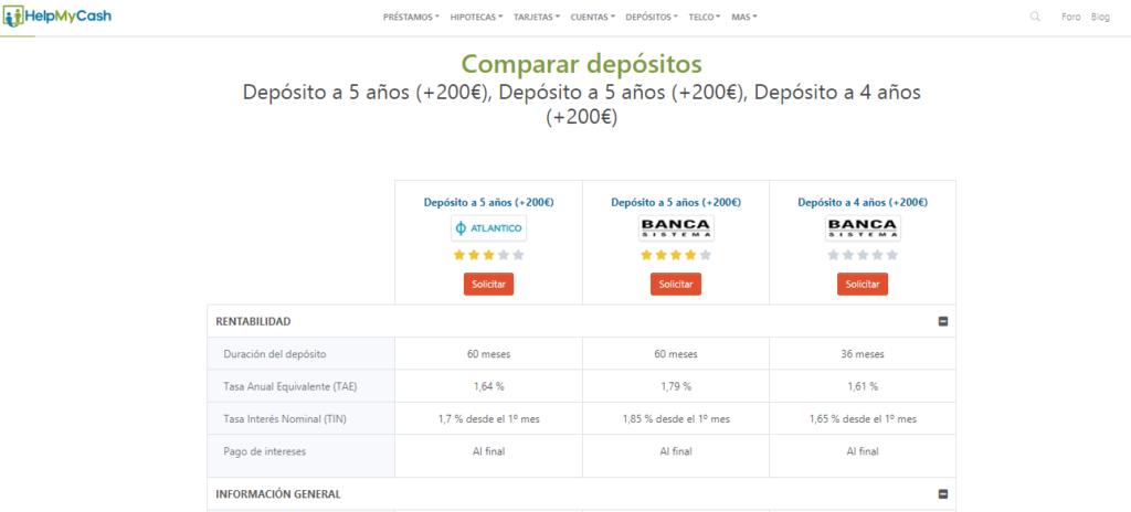 comparador de depósitos bancarios